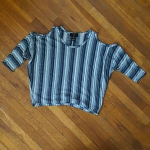 Rain Blue Striped Cold-shoulders Top